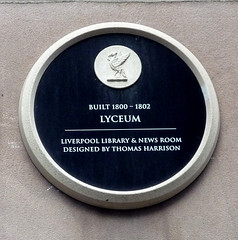 Photo of Lyceum, Liverpool and Thomas Harrison black plaque