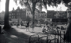 Hot Afternoon On The Green (Thomas Bayes) Tags: bw london stand hc110 jupiter12 rodinal islington zorki1 lucky100 bwfp