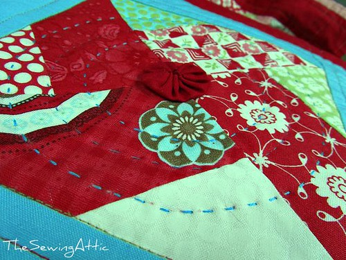 Hand quilting the Bliss quilt