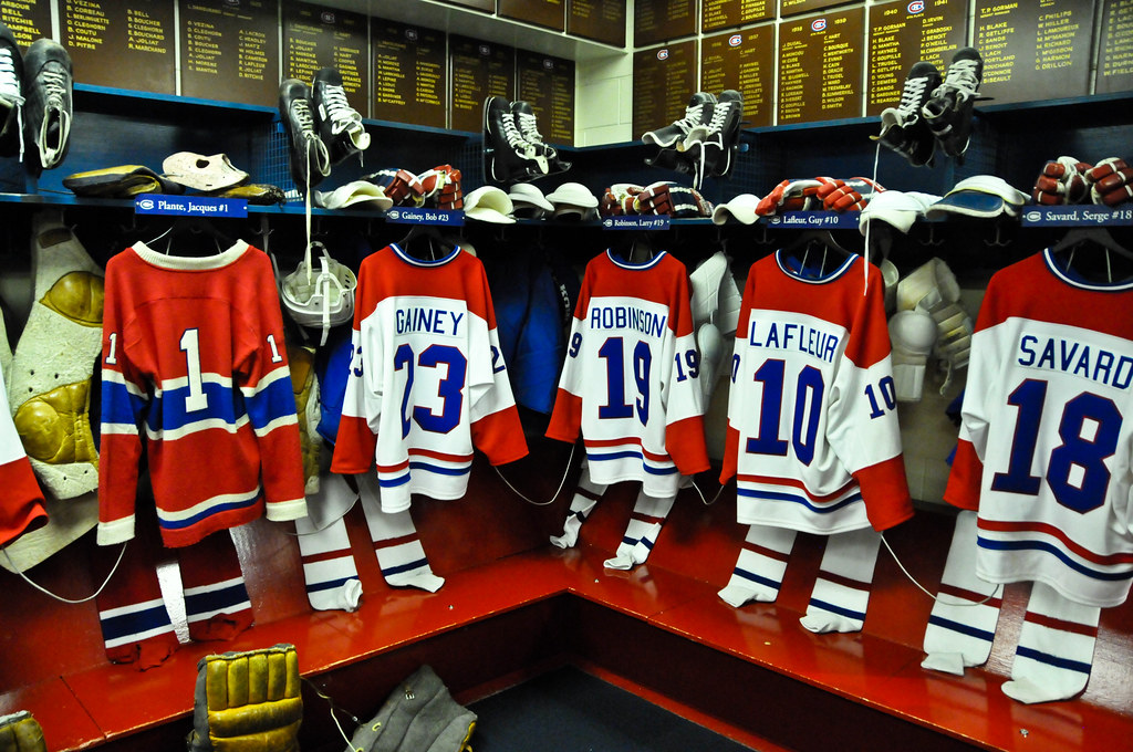 Replica of the Montreal Canadians Locker Room at tHockey Hall of Fame - Toronto Ontario Canada