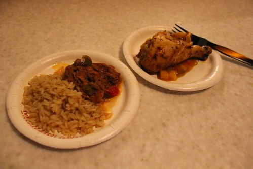 Caribbean - Ropa Vieja (Slowly Braised Beef) with White Rice; Jerk Spiced Chicken Drumstick with Mango Salsa