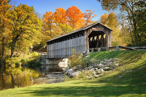 """Floating Leaves""  (Fallasburg Covered Bridge)   Lowell , Michigan"