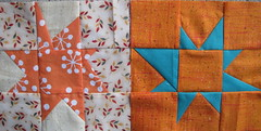 Lynn's teal and tangerine stars