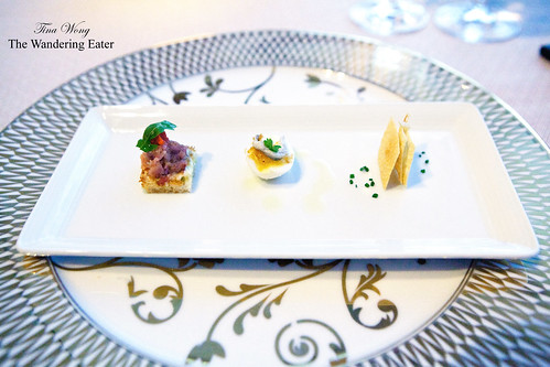 Amuses #1: Tuna confit, hard boiled quail egg with sardine, chickpea chips with goat cheese