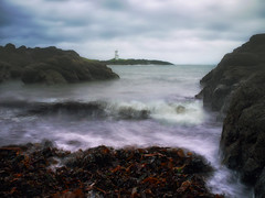 On a soft grey Sunday morning(Elie Lighthouse) (kenny barker) Tags: lighthouse seascape seaweed water landscape scotland bravo rocks image fife le elie ourtime coastuk panasonicg1