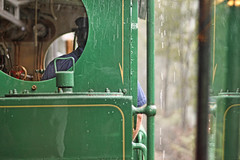In the train (shastadaisy~) Tags: mist rain train canon steam locomotive passenger traindriver dda trainride westcoastwilderness tasmaniia sbfmasterpiece