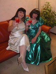 Cheers to you (Paula Satijn) Tags: ladies friends green tv shiny dress cd silk skirt tgirl gown satin nightdress nightie