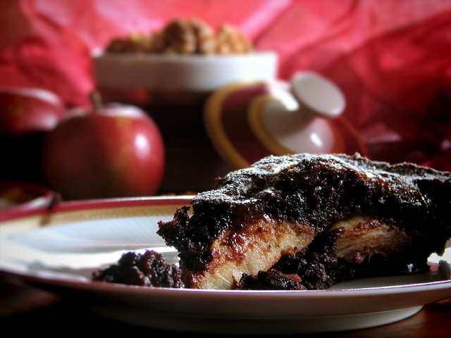 Apple Walnut Brownie Cake