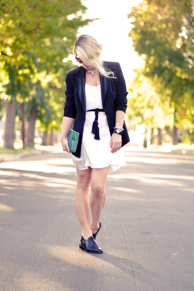 black blazer-white dress-rhinestone necklace-oxford shoes