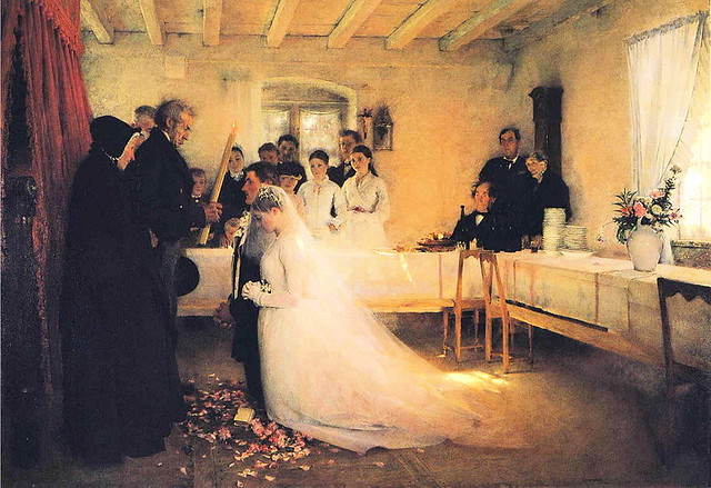 Pascal Dagnan-Bouveret - Blessing of the Young Couple Before Marriage: A painting of a young white couple kneeling before a priest
