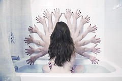 Bathing Alone Part 2. [249/365] (Angela Mary Butler) Tags: shower crazy hands pattern arms cloning screen textures bathtime selfportrai 365days angelamarybutlerphotography followontwitterangelamarybee httpwwwfacebookcomangelabutlerphotography bathingalone