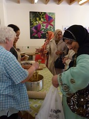 Volunteers help to serve Cultural Cookery soups