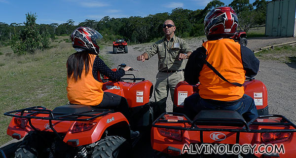 Boss Andrew giving us a quick tutorial on riding the quad bike