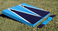 Turquoise & Black Matching Triangle Cornhole Boards