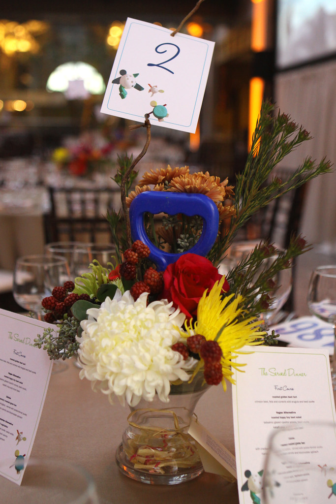 Table Decorations Sporting Ocean Trash (Flowers by Kate's Blossoms)