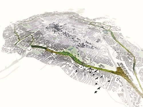 rendering of the Atlanta Beltline, NE portion in foreground (by Atlanta Beltline)