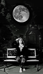 Undead {Explored} (Patti-Jo) Tags: england blackandwhite bw woman moon halloween night photoshop bench epcot scary florida zombie makeup haunted full nighttime elements undead layers corpse odc gaunt ourdailychallenge pse9 getpushed