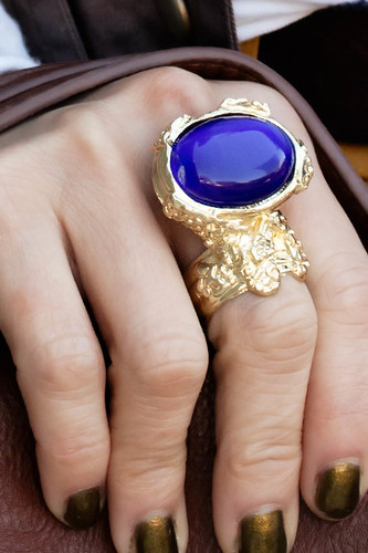romwe street style gem arty ring in royal blue