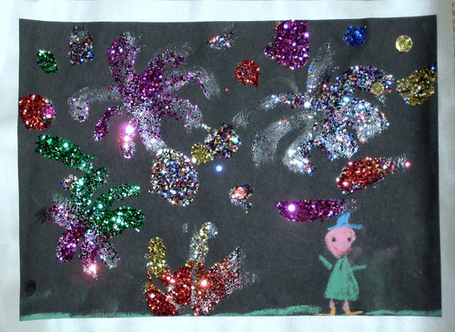 top five fireworks night craft ideas for kids, glittery fireworks scene