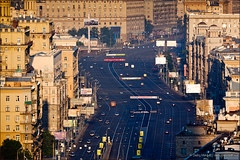 Kutuzovsky Prospekt avenue in Moscow, Russia (Dmitry Mordolff) Tags: life road city urban motion streets history car horizontal architecture buildings outdoors downtown day driving boulevard cityscape traffic russia moscow district decoration lane transportation asphalt avenue
