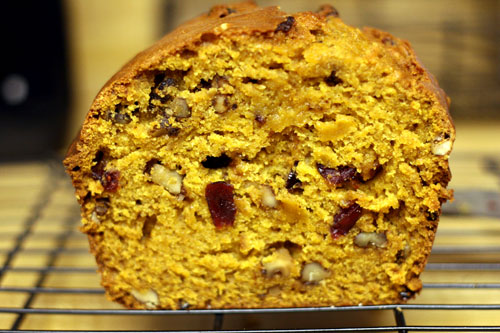pumpkin bread with walnuts and cranberries