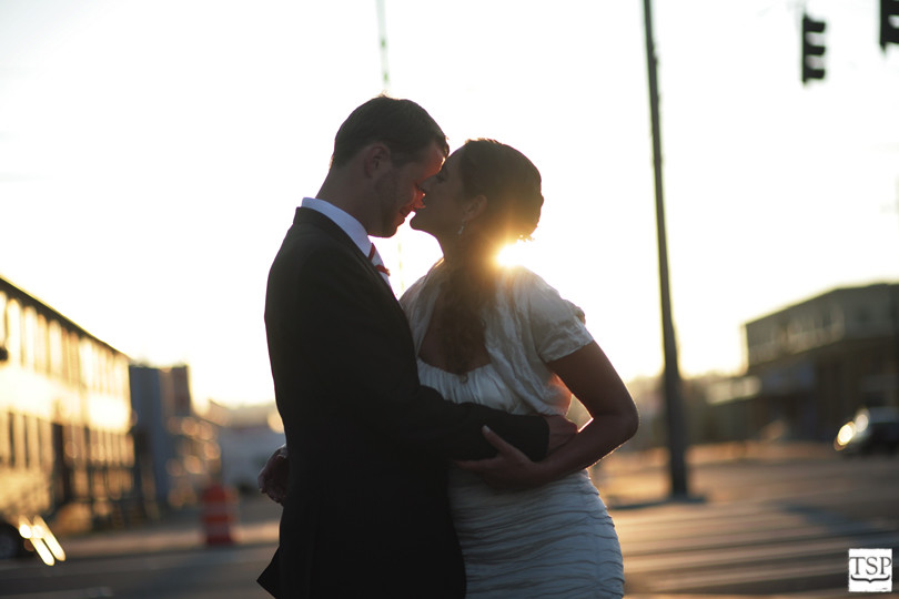 Bride and Groom at Sunset in the City