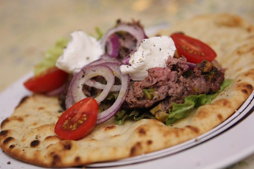 Grilled Venison Kebabs with Harissa and Greek Yogurt on Naan