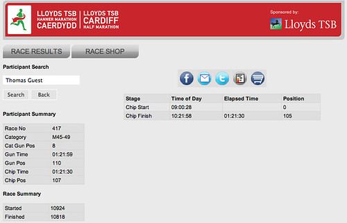 Cardiff half marathon 2011 race results for Thomas Guest