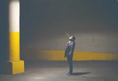Scott Mullen (Sara Jennifer Panza) Tags: life light portrait urban man color male beautiful yellow night contrast canon vintage outside photography lights glasses model industrial artistic dusk masculine cigarette gorgeous smoke grunge detroit creative handsome vivid 50mm14 pale smoking faded jacket portraiture smokey conceptual malemodel classy smokecloud russellindustrialcenter detroitphotographer 5dmarkii scottmullen sarajenniferpanza