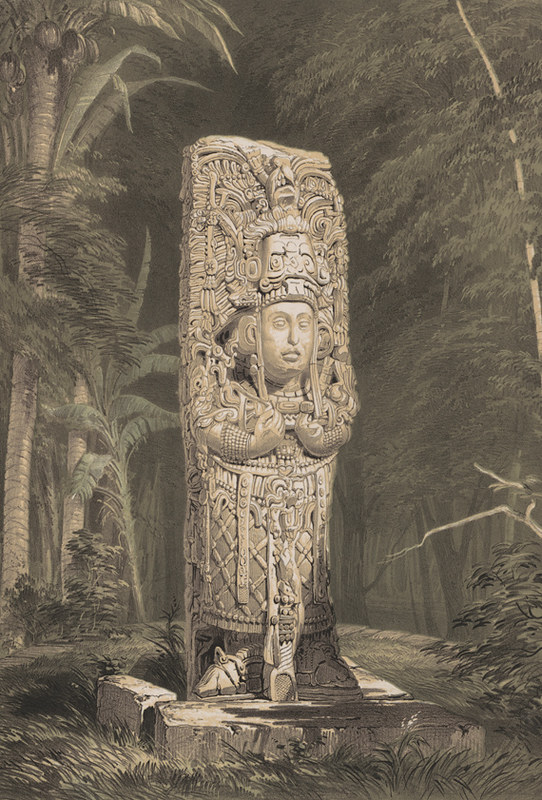 Stela D, Copan, by Frederick Catherwood, 1844
