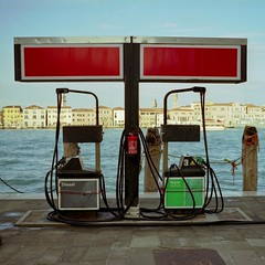 Untitled-(boat) gas station (Philippe Yong) Tags: venice 120 mamiya film analog mediumformat fuji gasstation analogue venise venezia squarecrop giudecca mamiya7ii moyenformat 7ii pro160ns venisemamiya philippeyong wwwpyphotographyfr