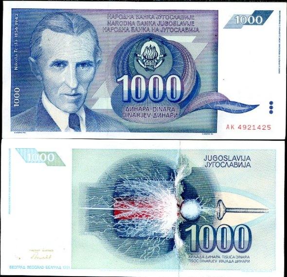 1000 Dinárov Yuhoslávia 1991, Pick 110