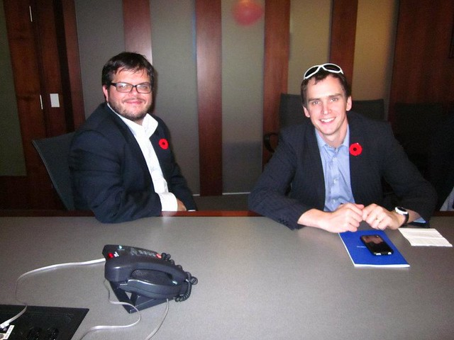 Social Media Manager Yuri Artibise and GIS Specialist Will Cadell at PlaceSpeak's November Board Meeting.