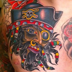 Blackbeard pirate ship tattoo - photo#9