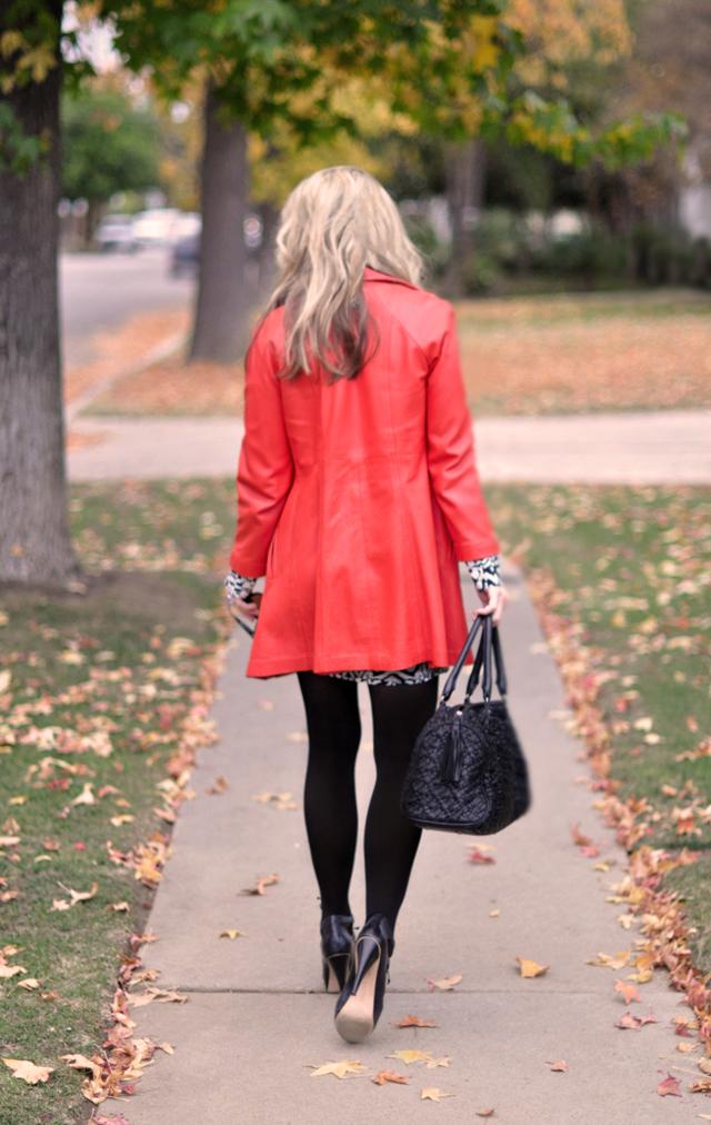 walking away-vintage red leather coat