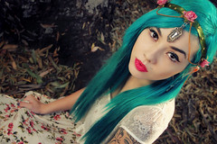 Talya Poxleitner (Dar.shelle) Tags: blue portrait fashion forest canon hair princess stevens makeup tattoos 7d zelda headband talya darshelle