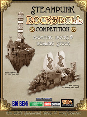 "Lego Steampunk ""ROCK & ROLL"" Contest (aillery) Tags: lighthouse building rock train war ship lego contest floating rail battle sail roll steampunk saling compeition railship"