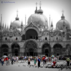 Do you standout in a crowd? (socalgal_64) Tags: old venice vacation people bw building art history church birds architecture fun religious interesting ancient colorful europe italia cathedral basilica balcony pigeons towers columns tourist holy colorized historical umbrellas domes venezia selectivecolor itally barouque
