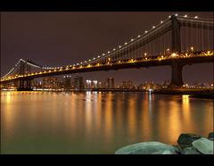 ~ Manhattan bridge ~ (olivier-duval) Tags: nyc longexposure bridge orange ny newyork skyline night novembre manhattan manhattanbridge pont couleur 2011 longuepose poselongue 5dmarkii 5d2 5dii