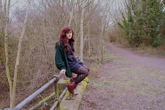 abi (amieelliott) Tags: trees red sun green girl beautiful grass leaves forest hair person nice pretty folk dr gorgeous abi doc twigs wavy cardigan drmartens martens creak