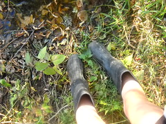 (losing-grip-on-reality) Tags: fall feet water girl pond legs rainboots