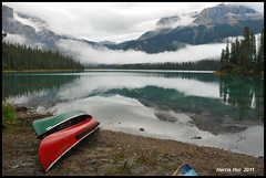 Is It Easy or Difficult to Take a Wide Shot? - Rockies N7054e (Harris Hui (in search of light)) Tags: red vacation portrait sky mist mountain lake canada reflection green water vertical horizontal fog vancouver landscape rockies nikon bc wideshot richmond explore canoes iwasthere emeraldlake canadianrockies d300 onexplore mistymorning beautifulbc beautifulbritishcolumbia explored nikon18200mmvr flickrfrontpage nikonuser foregroundelement nikond300 banffvacation harrishui vancouverdslrshooter isiteasyordifficulttotakeawideshot my5daysbanfftrip my5dayscanadianrockiestrip imageonexplore