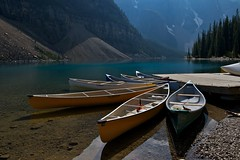 Canoe Art, Moraine Lake, Alberta, Canada (Kauffmanclan) Tags: canada nature canoes alberta banffnationalpark theunforgettablepictures