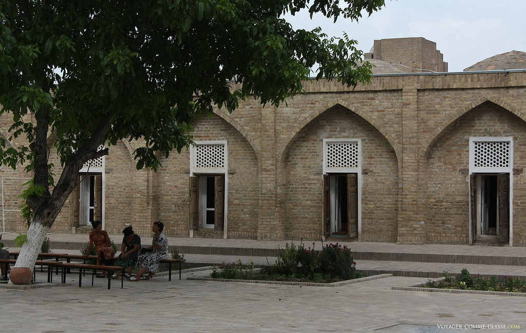 Mulheres uzbeques descansam à sombra de uma árvore do grande pátio interior de Kok Goumbaz.