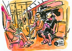 South Ferry (les carnets) Tags: nyc travel ny newyork watercolor sketch drawing centralpark aquarelle sketchbook dessin mta bigapple croquis carnet