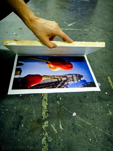 Step 5: Placing wax board onto photo