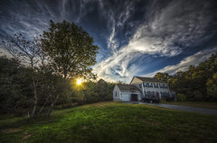 There's No Place Like... (Frank C. Grace (Trig Photography)) Tags: blue autumn trees sky sun house fall home grass clouds yard landscape ma jeep pentax massachusetts lawn newengland dramatic wideangle driveway lane sherwoodforest 8mm ultrawide hdr homesweethome k5 photomatix acushnet tonemapped trigphotography frankcgrace