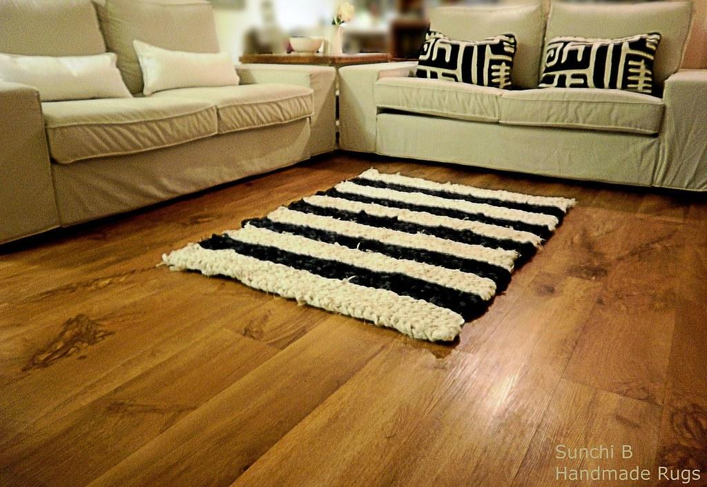 hand crocheted floor rugs black white