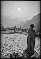A mystic vision in winter (__Tristan__) Tags: bw cloud sun mountains monochrome fog forest 35mm nikon chartreuse hills monastery fm2