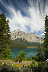 Nature's Backdrop (MommaD photos) Tags: travel flowers trees sky lake canada mountains nature water clouds reflections garden landscape outside outdoors nikon view natural chairs britishcolumbia september northamerica outlook forests rattan emeraldlake canadianrockies yohonationalpark 2011 coth5 dcpt tnwaphotography